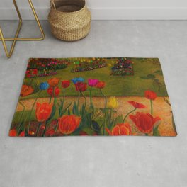 Classical Masterpiece 'Poppies and Tulips' Stanley Spencer Rug