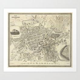 Vintage Map of Edinburgh Scotland (1844) Art Print
