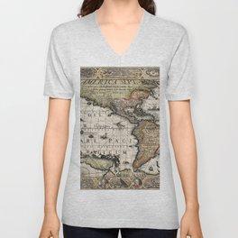 Map Of America 1614 Unisex V-Neck