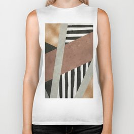Abstract Geometric Composition in Copper, Brown, Black Biker Tank