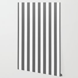 Dim gray - solid color - white vertical lines pattern Wallpaper