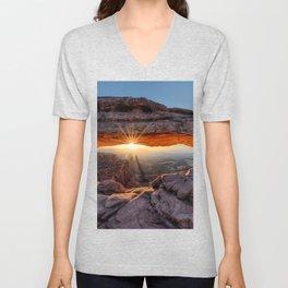 Mesa Arch Sunburst Canyonlands National Park.  by Lena Owens Unisex V-Neck
