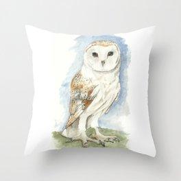 Barn Owl - Watercolor Throw Pillow