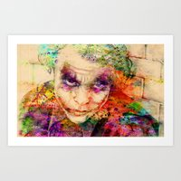 the joker Art Prints featuring joker by mark ashkenazi