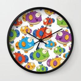 Cute cartoon puffer fish Wall Clock