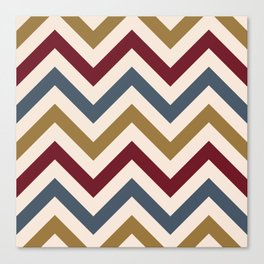 Funky Zigzag Pattern Gold Red Blue Cream Canvas Print
