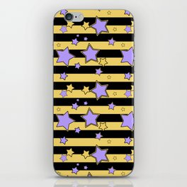 Purple stars on black and yellow striped iPhone Skin