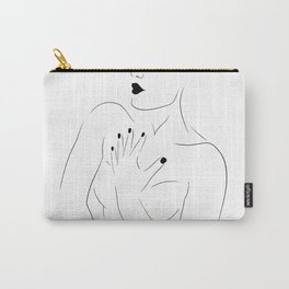 Feminine Female Figure Line Drawing (WHITE, 6 of 6) Bold Lips, Toned Upper Body Bone Structure Carry-All Pouch