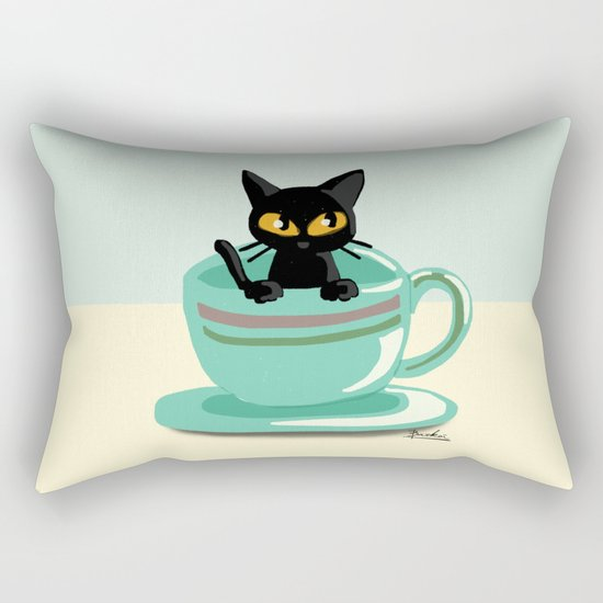 Cat in the cup Rectangular Pillow