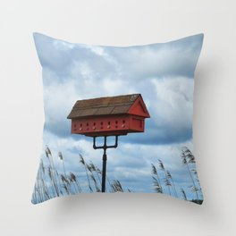 Red Bird House Throw Pillow