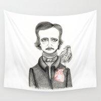 edgar allan poe Wall Tapestries featuring Allan Poe by Pendientera