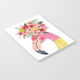 Pink flamingo with flowers on head Notebook