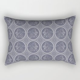 Grisaille Charcoal Blue Grey Neo-Classical Ovals Rectangular Pillow