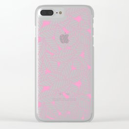 Leaves in Flamingo Clear iPhone Case