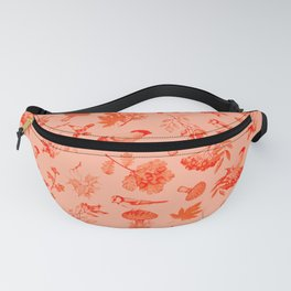 Red Autumn Botanical Pattern Fanny Pack