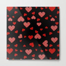Valentines Hearts black Metal Print