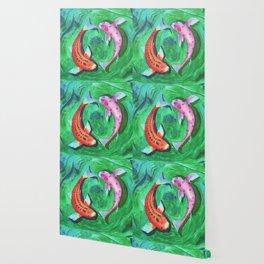 Circle of life - Watercolor koifishes Wallpaper