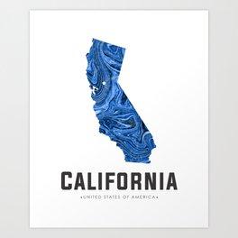 California - State Map Art - Abstract Map - Blue Art Print