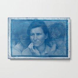 Cyanotype Photo of Dorothea Lange, Migrant Mother, 1936 v2 Metal Print