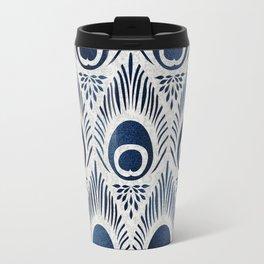 Peacock Damask Bohemian Indigo Denim Travel Mug
