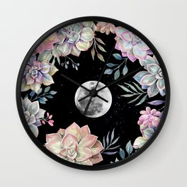 succulent full moon 4 Wall Clock
