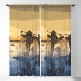 Salt Harvest in Abstract Art Blackout Curtain