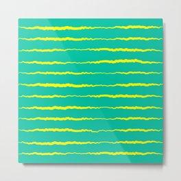 Yellow and Teal Waves Metal Print