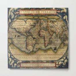 Vintage World Map - Ortelius World Map 1570 Metal Print