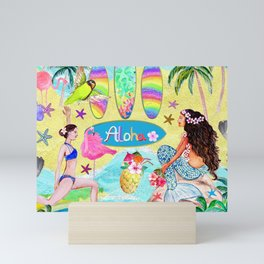 Yoga Aloha Hawaiian Tropical mermaid , flamingos, yoga floats floral Mini Art Print