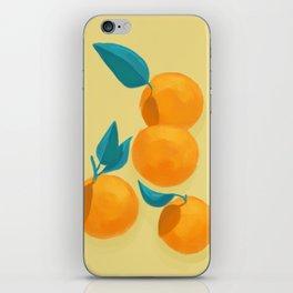 Oranges on yellow iPhone Skin