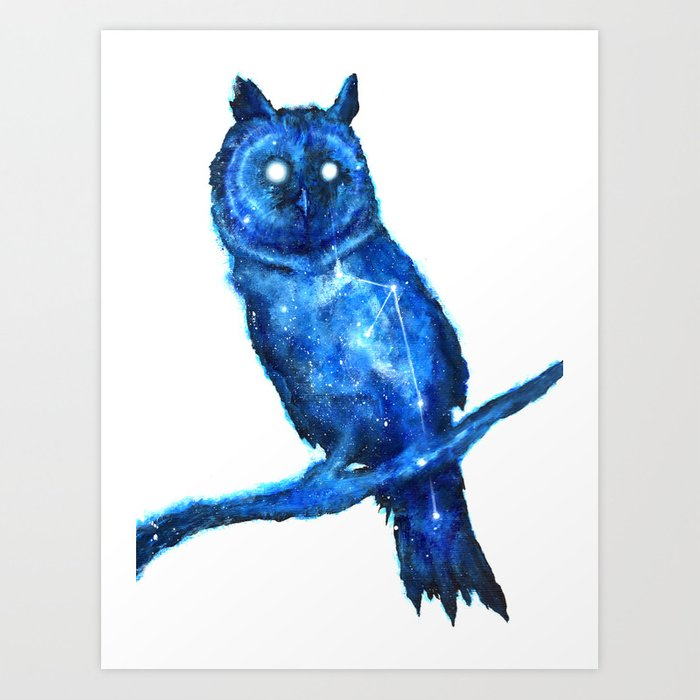 owl painting space owl owl constellation cosmic owl blue owl