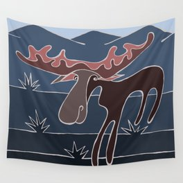 Blue Mountain Moose Wall Tapestry