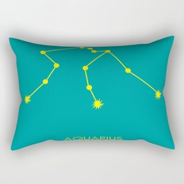AQUARIUS (YELLOW-TEAL STAR SIGN) Rectangular Pillow