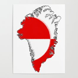 Greenland Map with Flag Poster