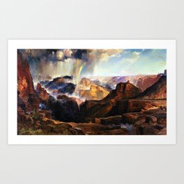 The Chasm of the Colorado, Windswept Rain Storm, Grand Canyon landscape by Thomas Moran Art Print