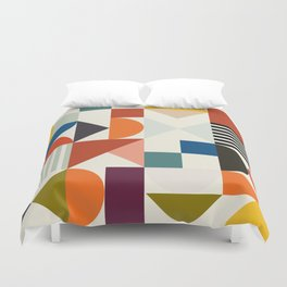 mid century retro shapes geometric Duvet Cover