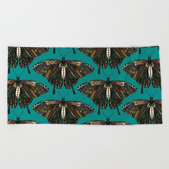 swallowtail butterfly teal Beach Towel