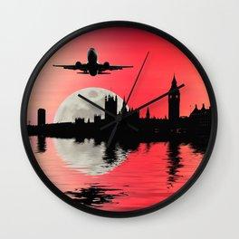Night flight over London Wall Clock
