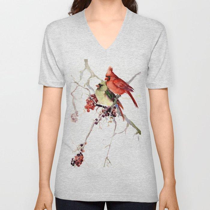 Cardinal Birds, birds art, two bird artwork cardinal bird Unisex V-Neck