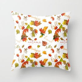 Autumn Leaves Hello Fall! Throw Pillow