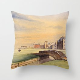 St Andrews Golf Course Scotland 18th Hole Throw Pillow