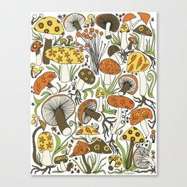 Hand-drawn Mushrooms Canvas Print
