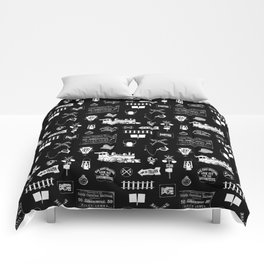 Railroad Symbols on Black Comforters