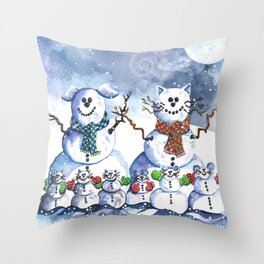 It's Snowing Cats and Dogs (and Mice too) Throw Pillow
