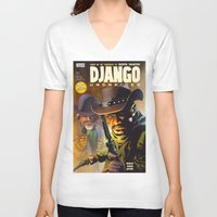 django V-neck T-shirts featuring Django by Don Kuing