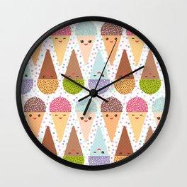 Kawaii mint raspberry chocolate Ice cream waffle cone with pink cheeks and winking eyes Wall Clock