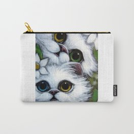 SPRING WHITE PERSIAN KITTEENS CATS ODD EYES & FLOWERS Carry-All Pouch