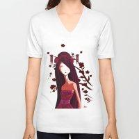 geisha V-neck T-shirts featuring Geisha by Kaori