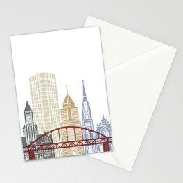 Pittsburgh V2 skyline poster Stationery Cards
