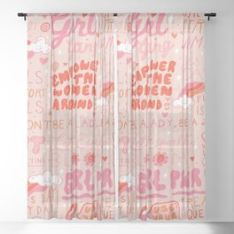 Girls Support Girls Sheer Curtain
